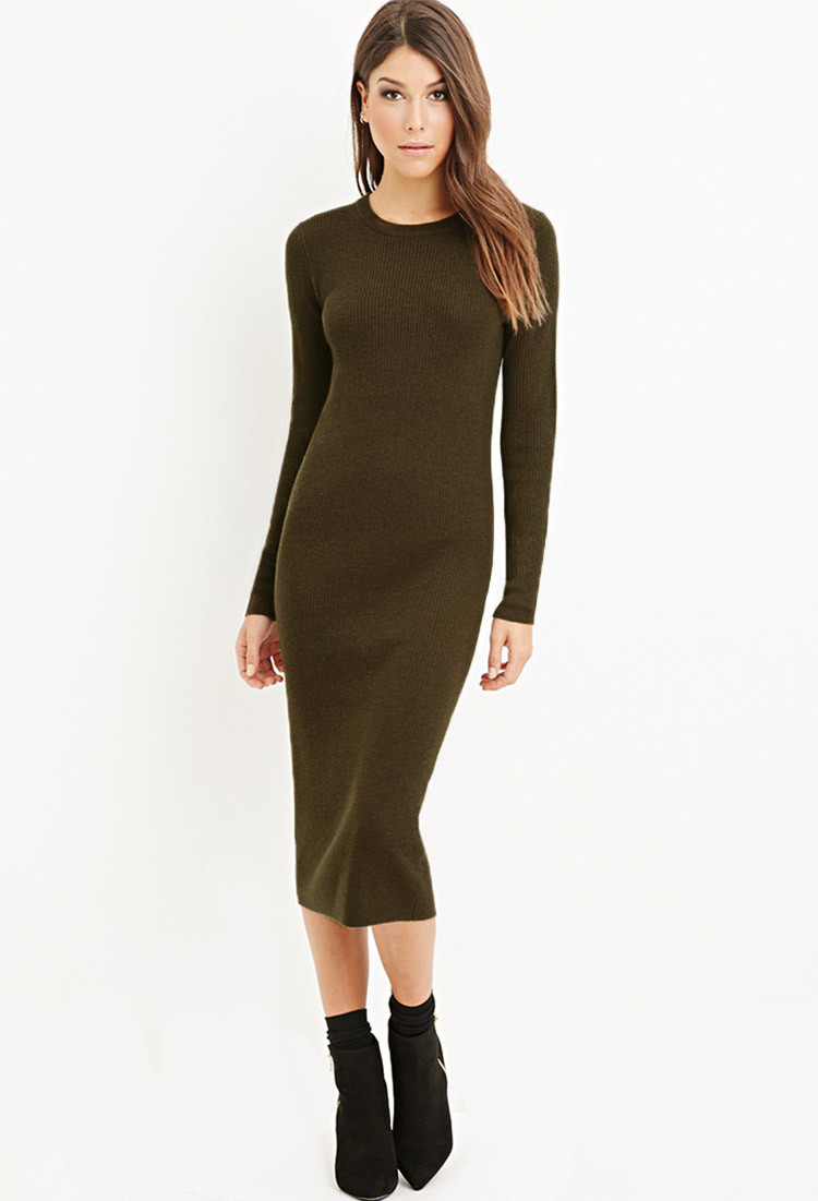 Forever 21 Ribbed Knit Midi Dress In Green Olive Lyst