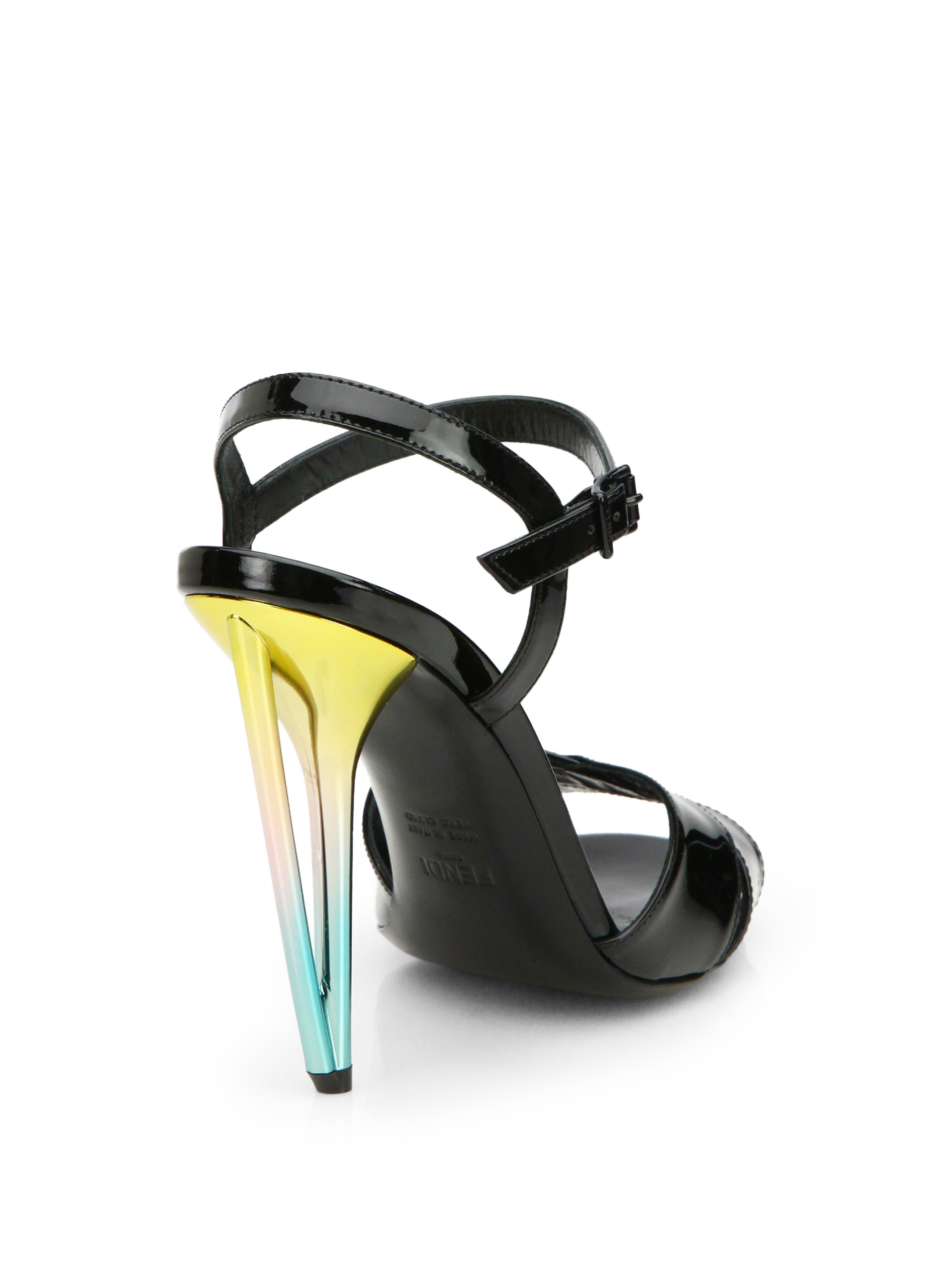 fendi patent leather metallic heel sandals in black lyst. Black Bedroom Furniture Sets. Home Design Ideas