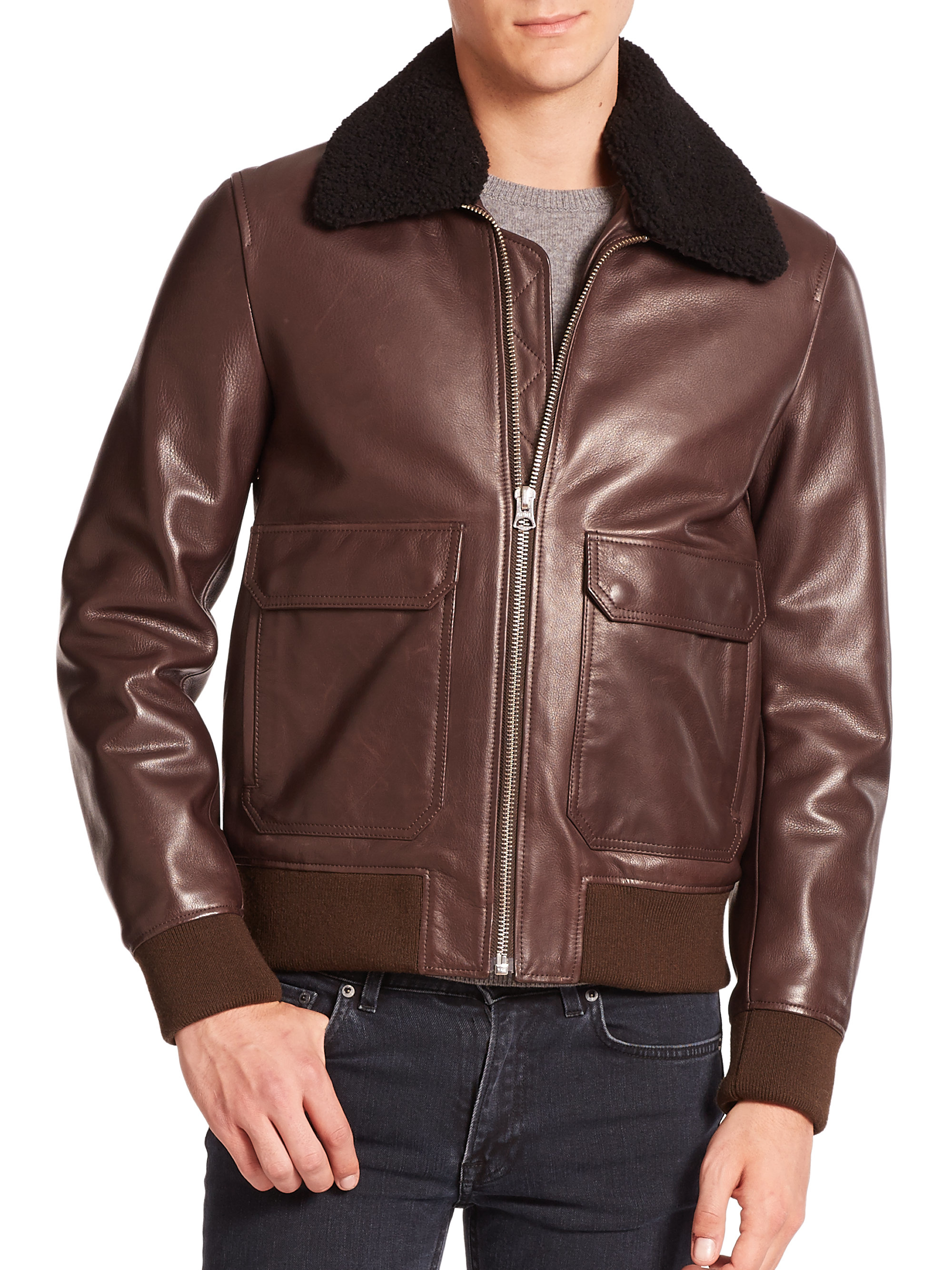 1817b428f9f Acne Studios Ian Leather & Lamb Shearling Bomber Jacket in Brown for ...