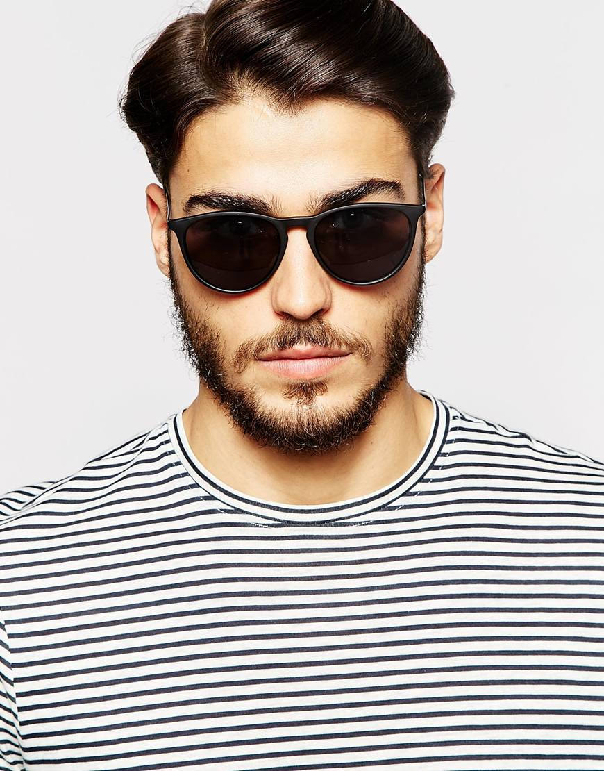 835025b40469 Lyst - ASOS Round Sunglasses With Metal Arms In Black in Black for Men