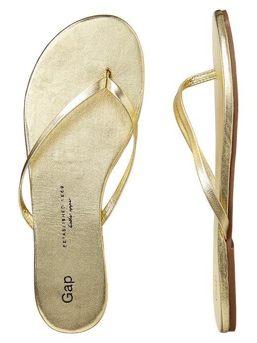 Gap Leather Flip Flops In Gold Lyst