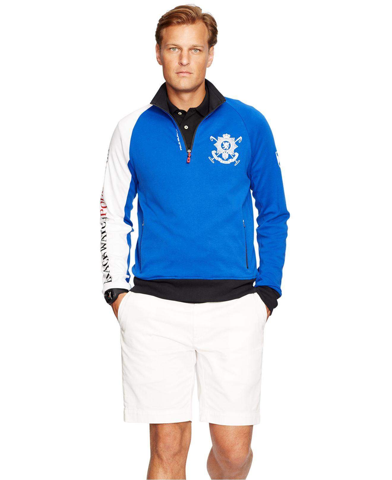 ... Ralph Lauren Men Mesh Cotton Half-zip Sweaters Black White