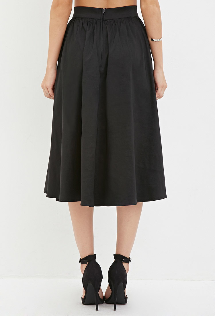 Forever 21 A-line Midi Skirt in Black | Lyst
