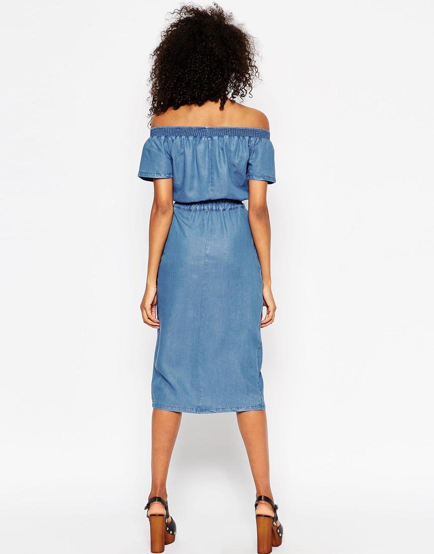 Lyst - Asos Denim Off Shoulder Waisted Midi Dress in Blue