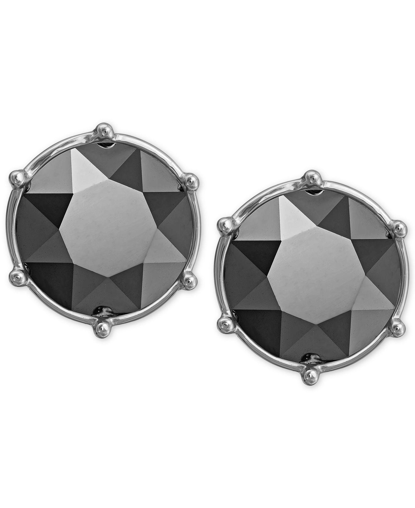 32623581d Swarovski Rhodium-plated Jet Hematite Crystal Stud Earrings in Black ...