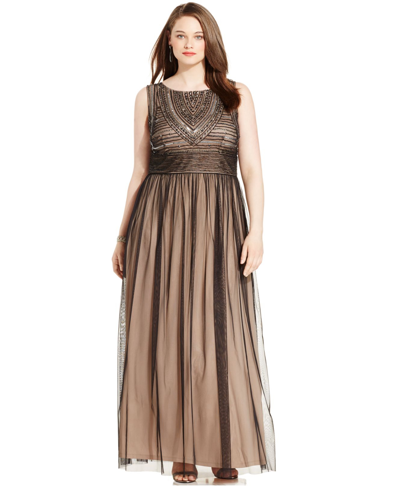 Lyst Adrianna Papell Plus Size Embellished Gown In Brown
