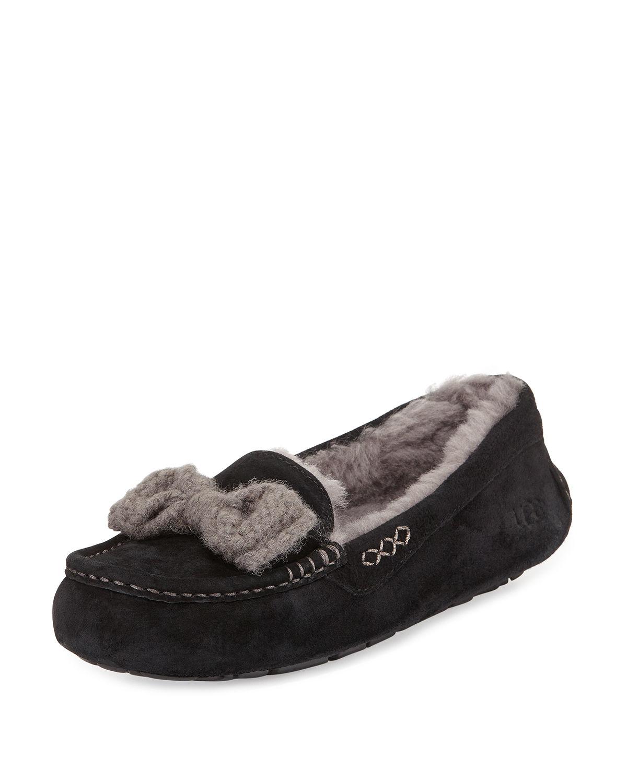 14cb9d2650b UGG - Black Ansley Knit-bow Suede Slipper for Men - Lyst