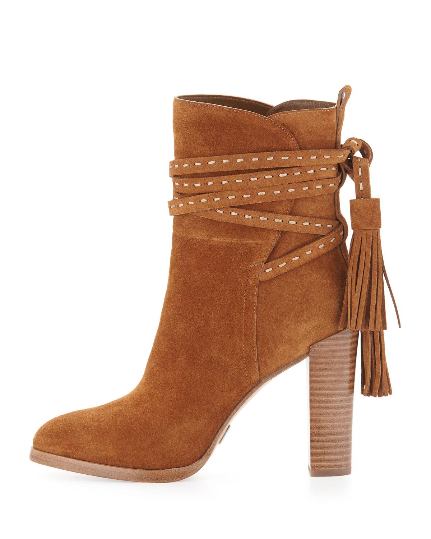 michael kors palmer suede tassel boots in brown lyst