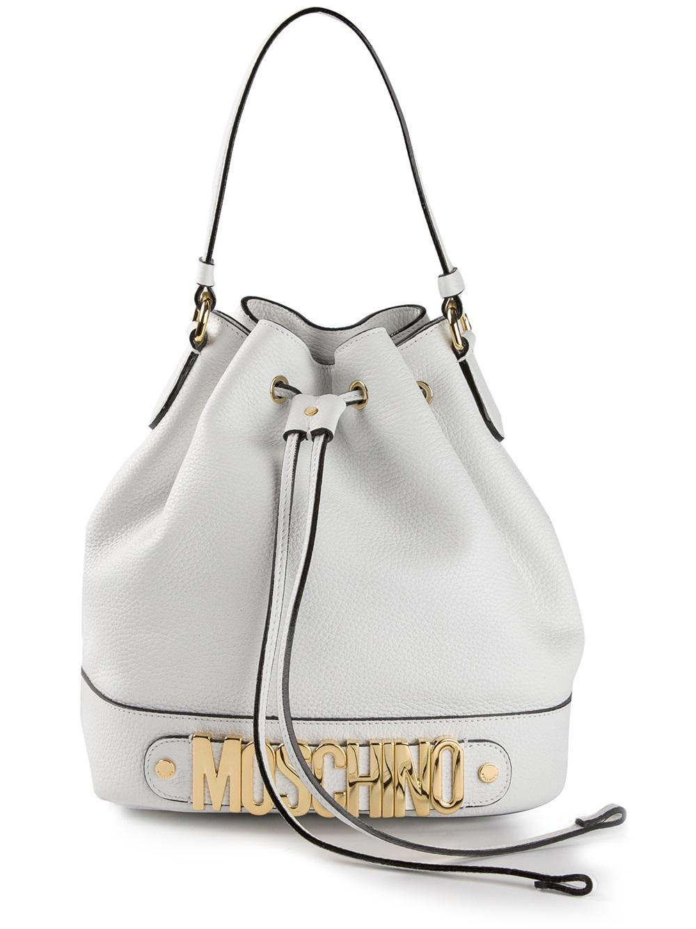 Moschino Logo Bucket Bag In White Lyst