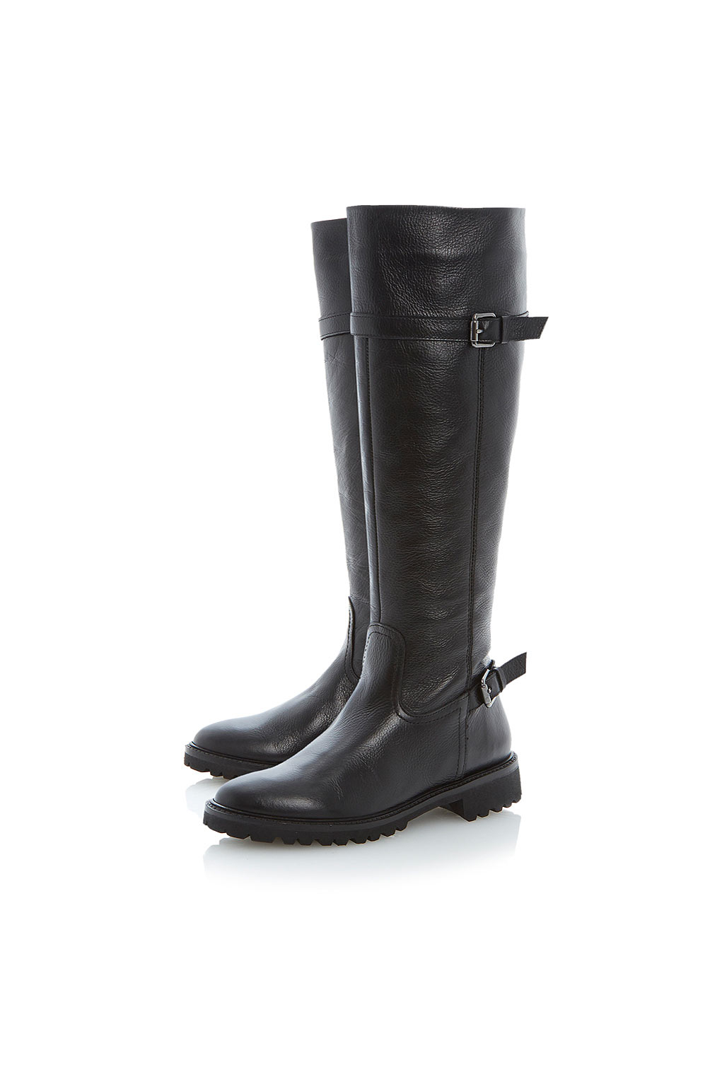 TOPSHOP Thunder Cleated Sole Knee High Leather Boots By Bertie Ladies in Black