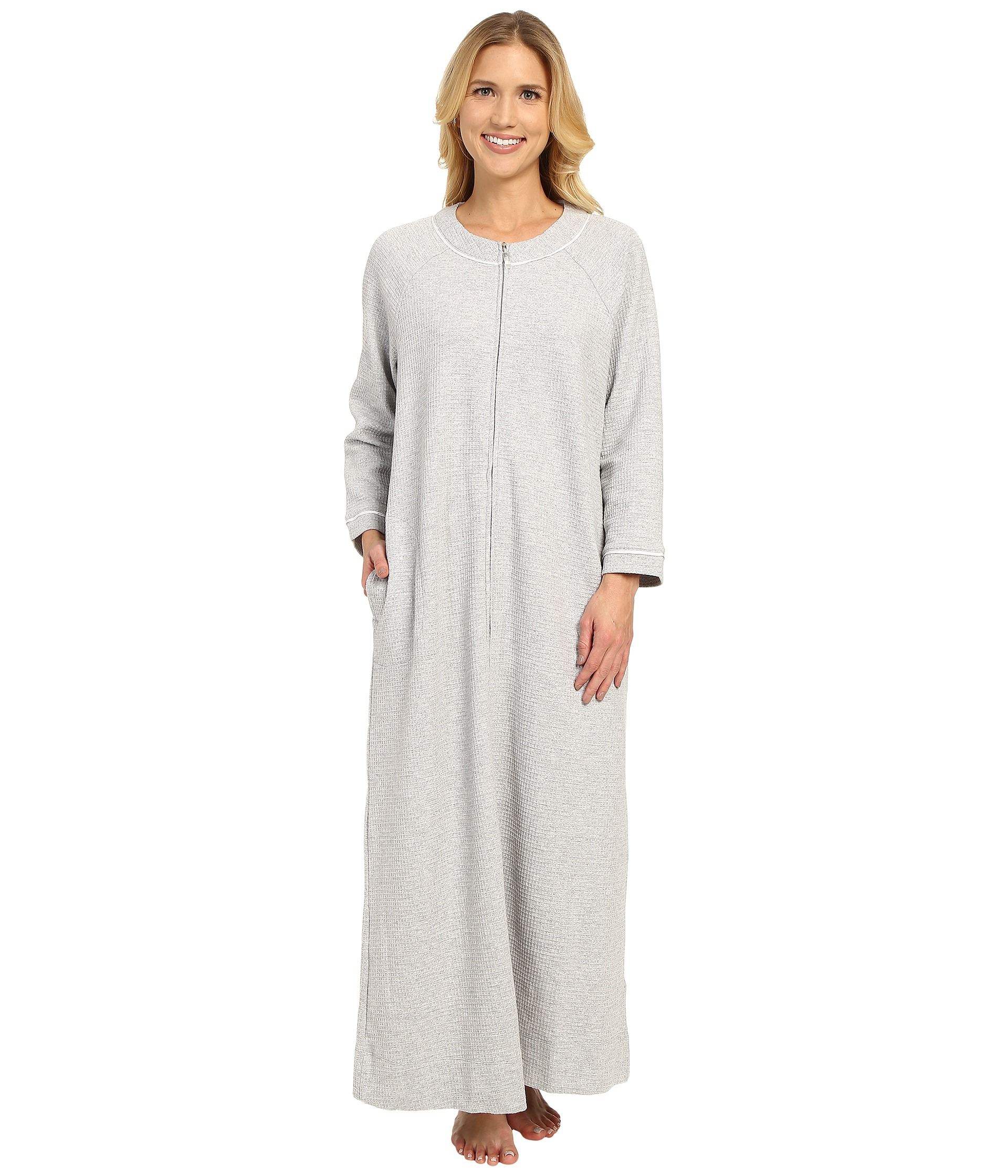 Lyst - Carole Hochman Waffle Knit Zip Robe in Gray