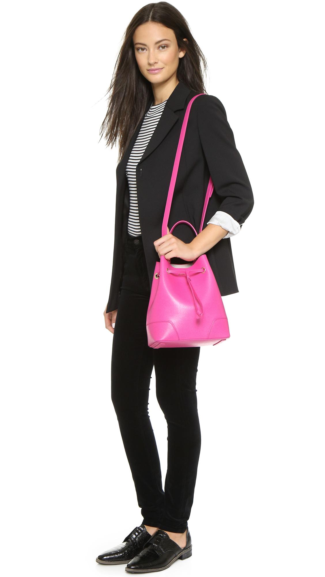 Furla Stacy Drawstring Bucket Bag Magenta In Purple Lyst