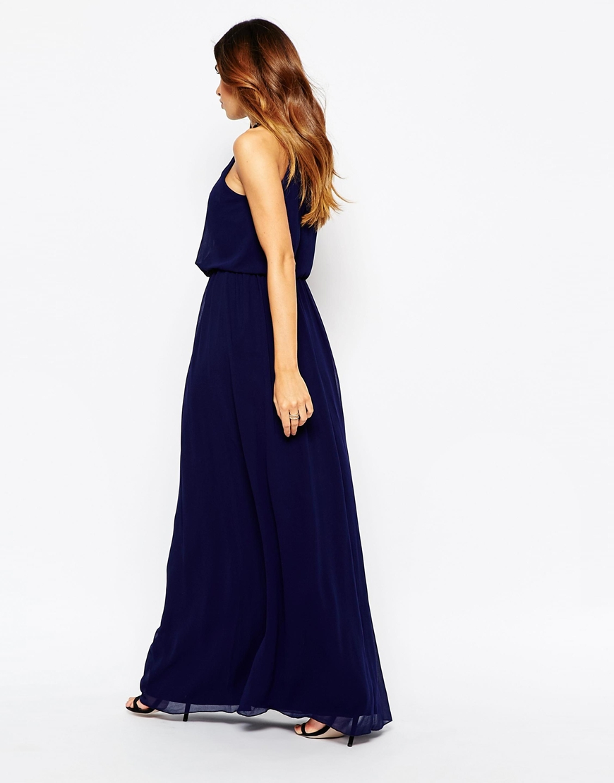 Little Mistress Chiffon Wrap Front Maxi Dress With Embellishment - Navy in Blue