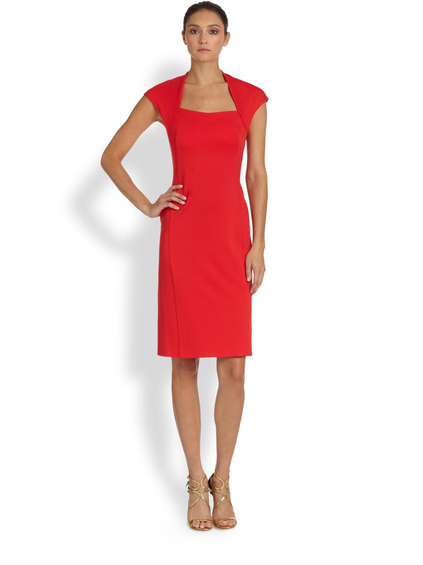 Escada Square Neck Donde Dress In Red Lyst