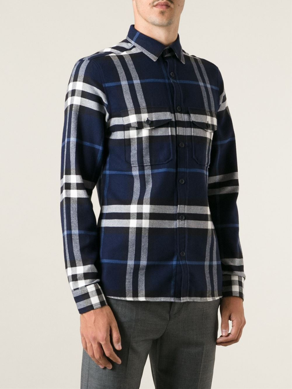 Lyst burberry brit plaid shirt in white for men for Burberry brit plaid shirt