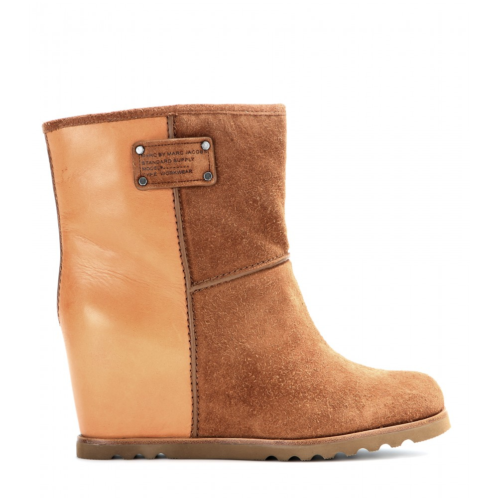 Marc By Marc Jacobs Leather And Suede Wedge Ankle Boots in Cognac (Brown)