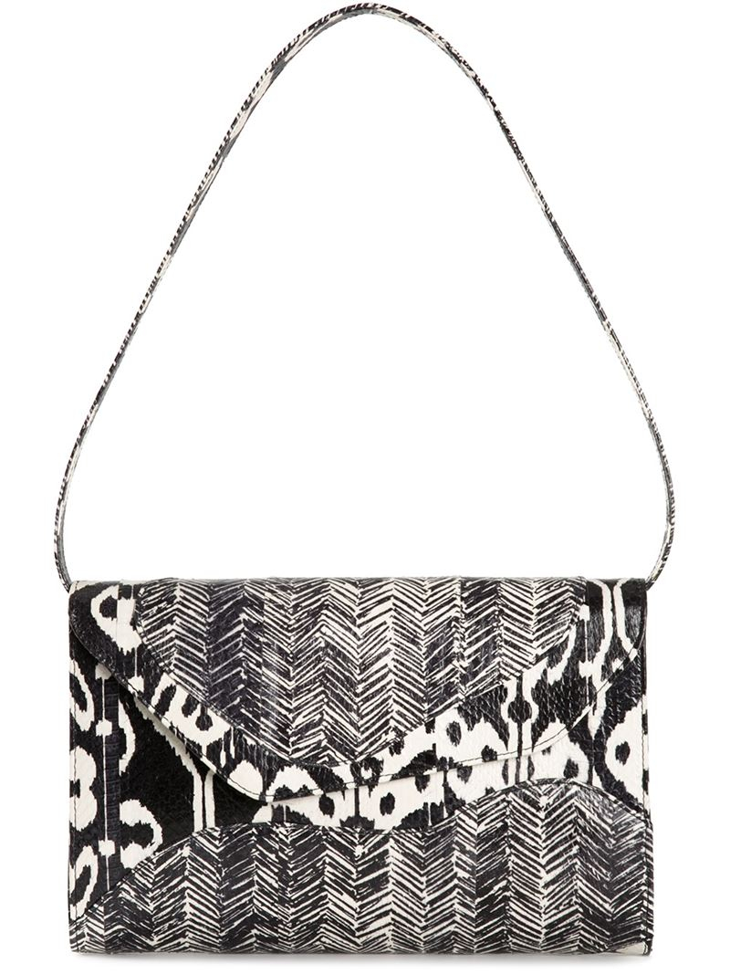 Lyst Jill Haber Jacob Suede And Snakeskin Tribal Clutch