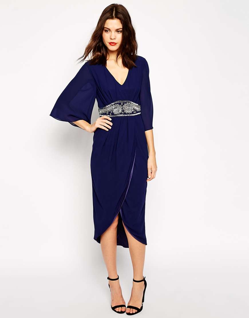 Tfnc london Embellished Midi Dress With Kimono Sleeves & Wrap ...
