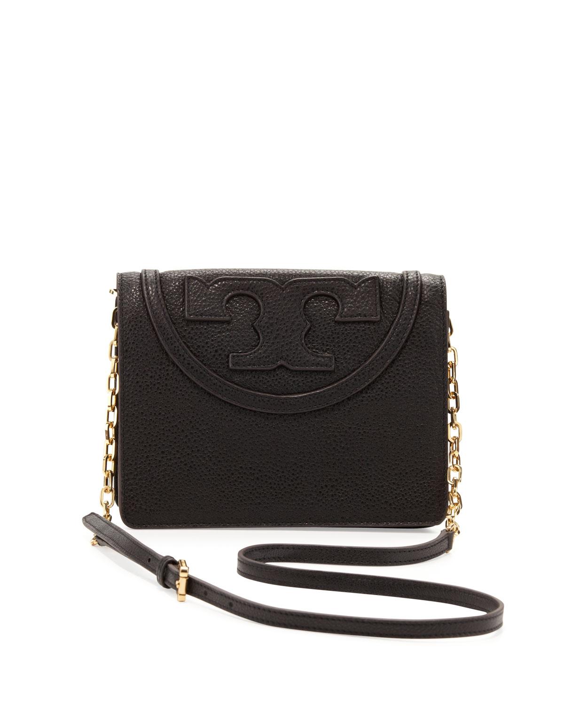 054a72f8383 Lyst - Tory Burch All T Pebbled Crossbody Bag in Black