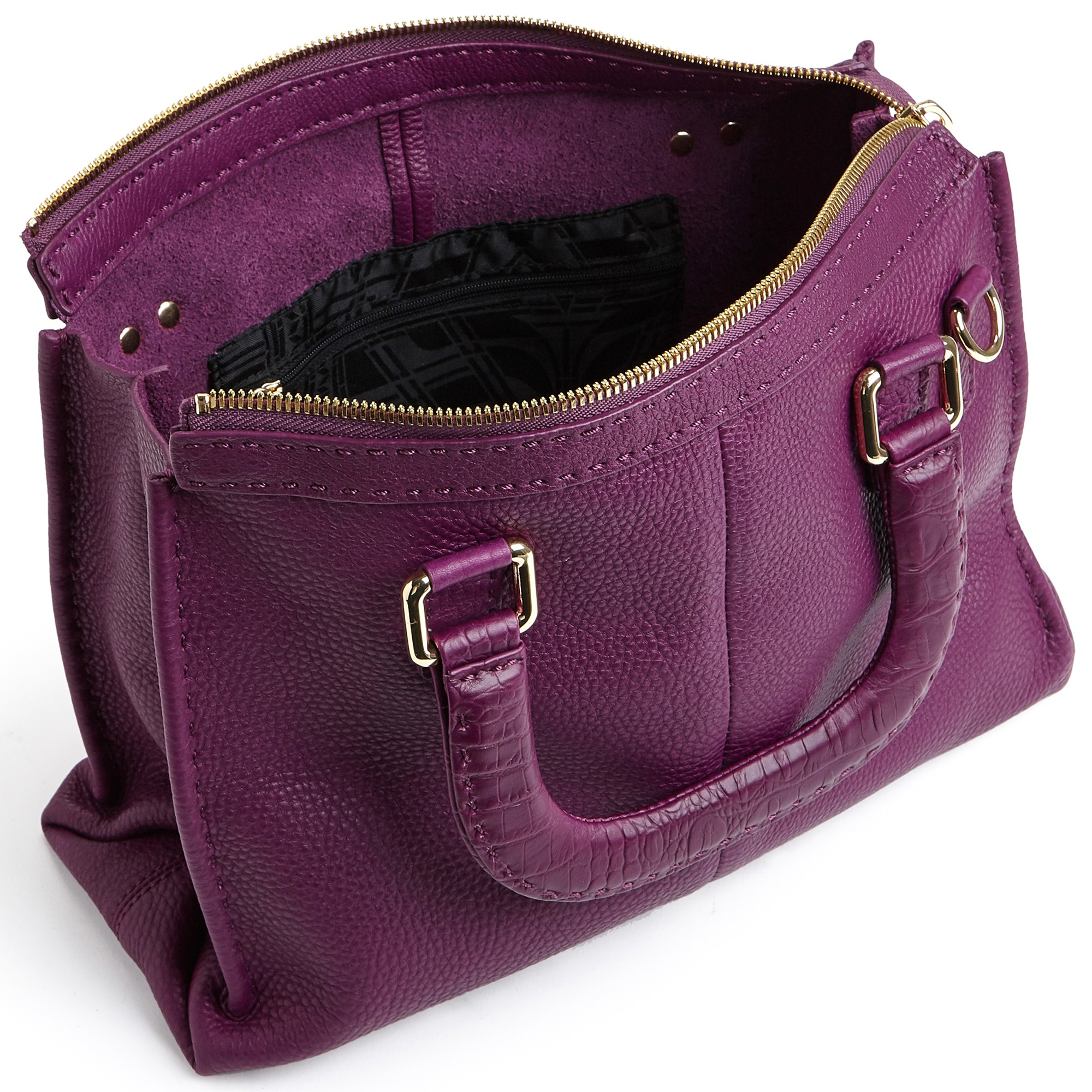 Ted Baker Gaitory Stab Stitch Leather Tote Bag In Purple