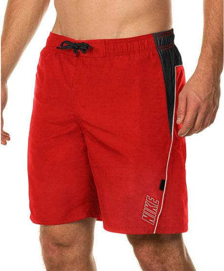 Nike big and tall core contend volley swim trunks in red for Mens swim shirt big and tall