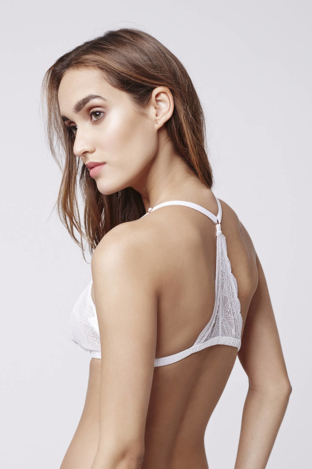44949ae3c6 Lyst - TOPSHOP Geo Lace Racer Back Triangle Bra in White