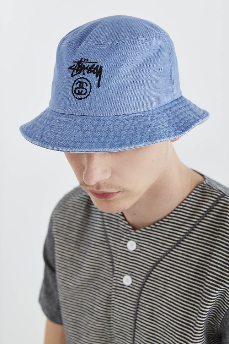 72db7f6931e Lyst - Stussy Stock Lock Denim Bucket Hat in Blue for Men