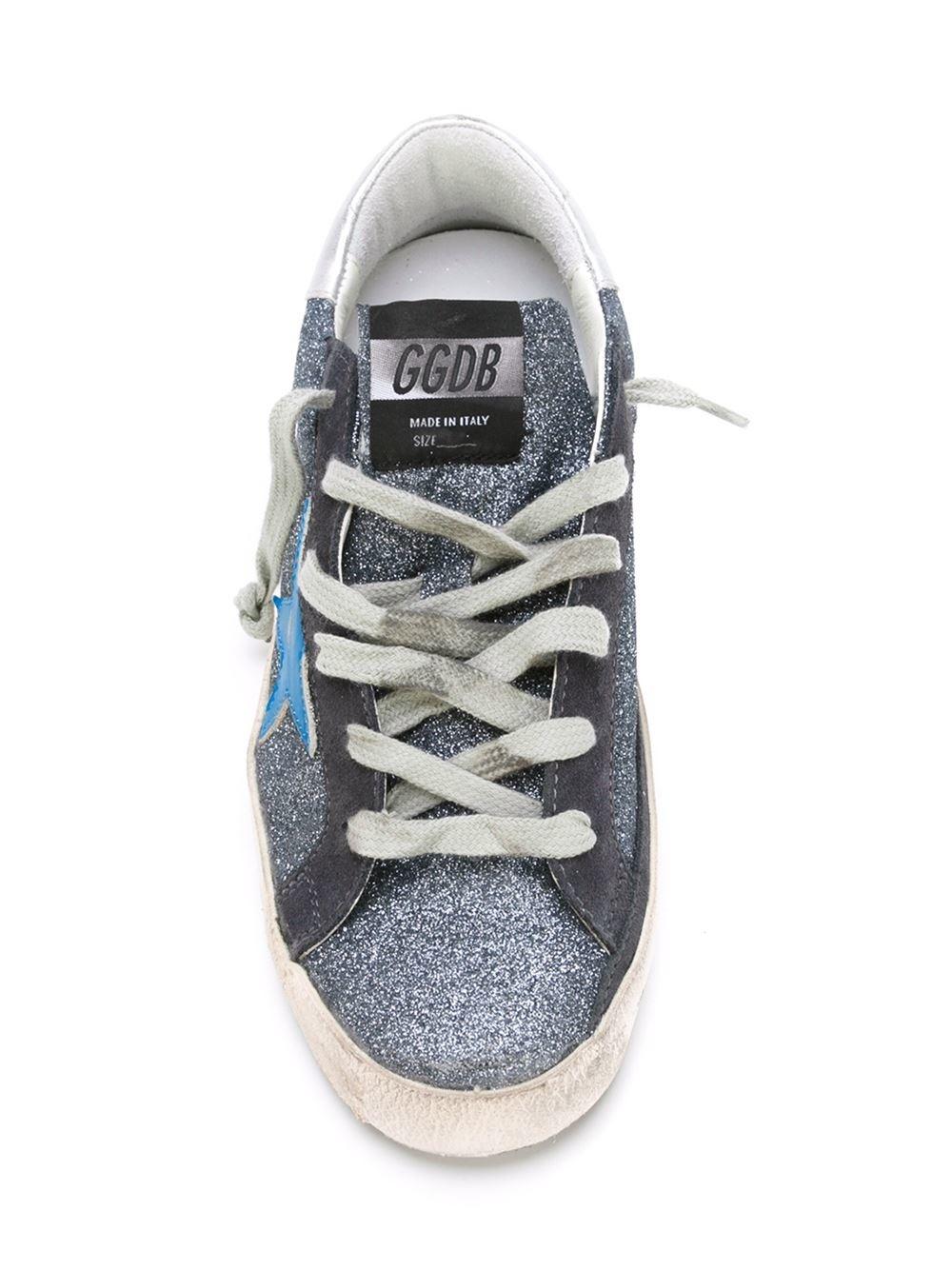 Golden Goose Deluxe Brand Suede Superstar Glitter Low-Top Sneakers in Blue