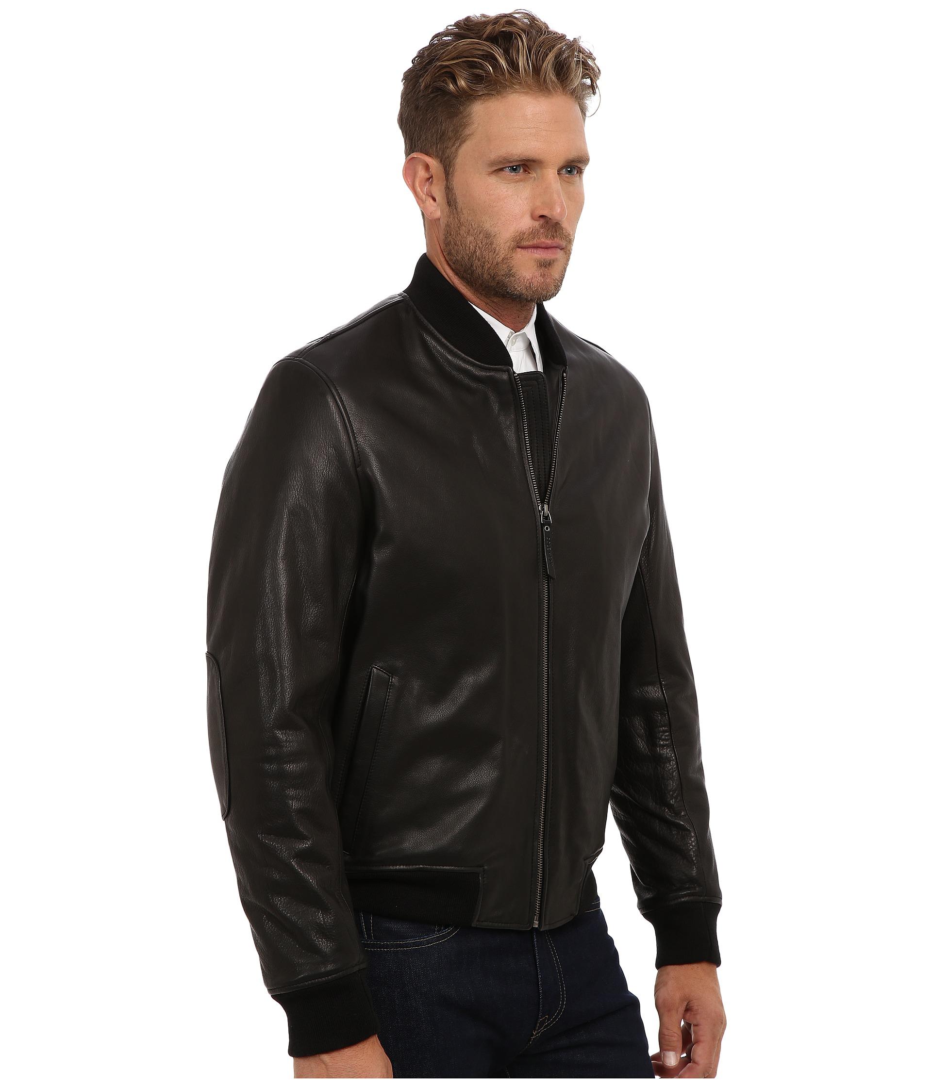 ac81f7de9 Men's Black Grainy Cow Varsity Jacket