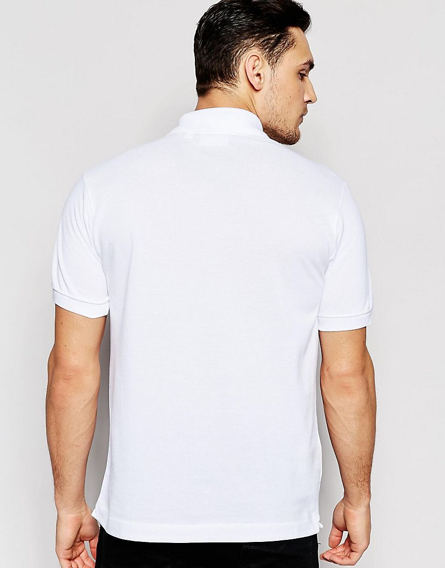 lacoste polo shirt with croc logo regular fit in white in. Black Bedroom Furniture Sets. Home Design Ideas
