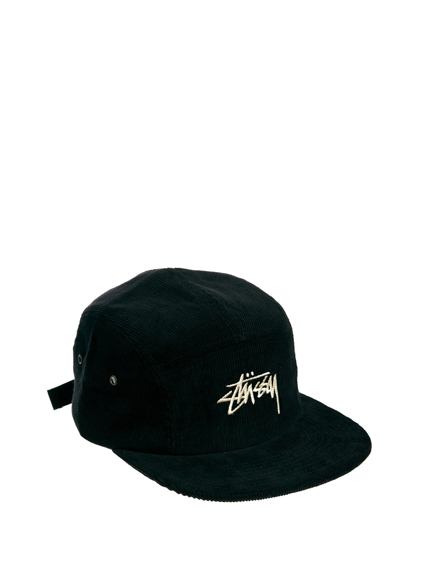 Lyst - Stussy Cord 5 Panel Cap in Black for Men b36b5c11490