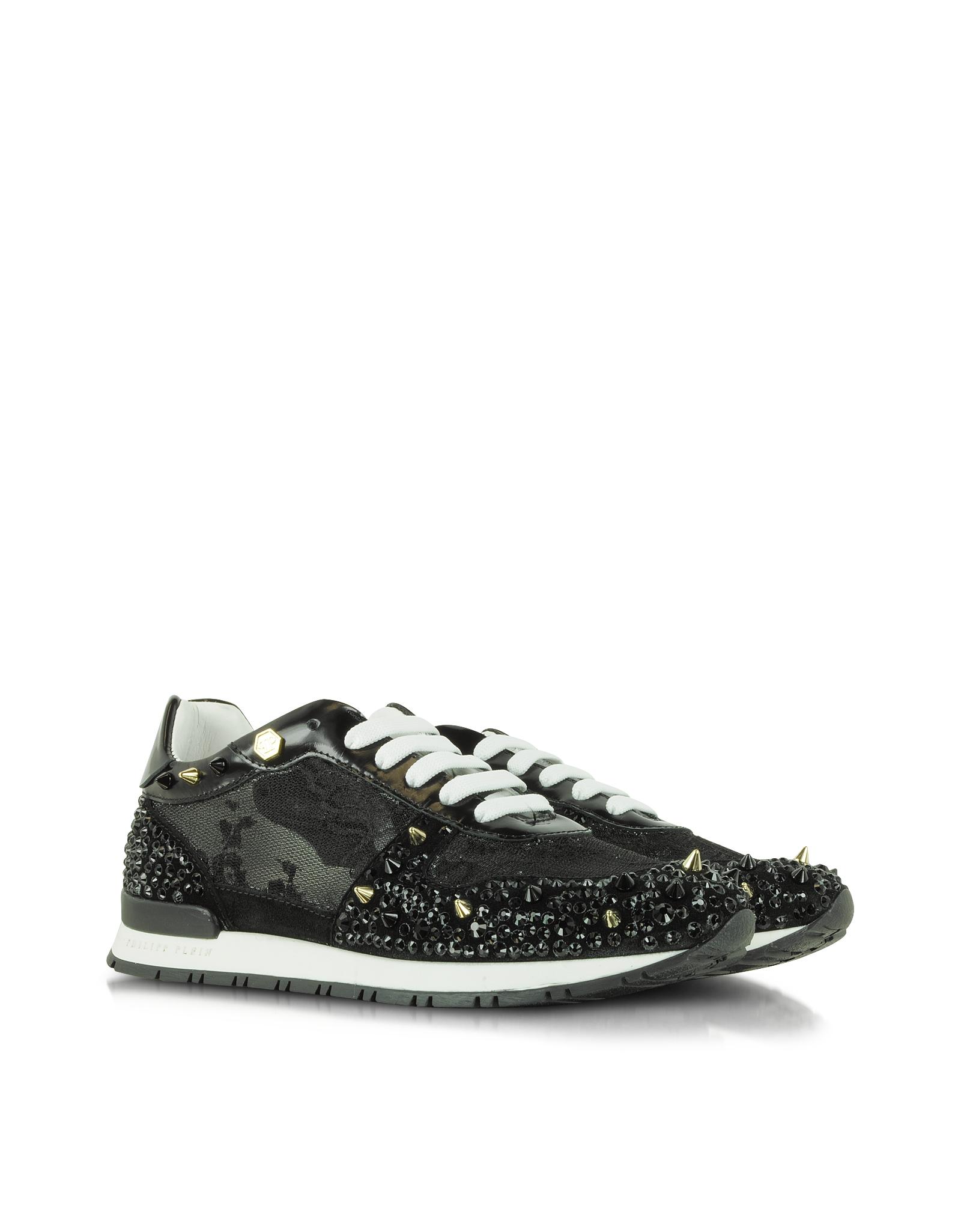 philipp plein glitter hi top sneakers in black lyst