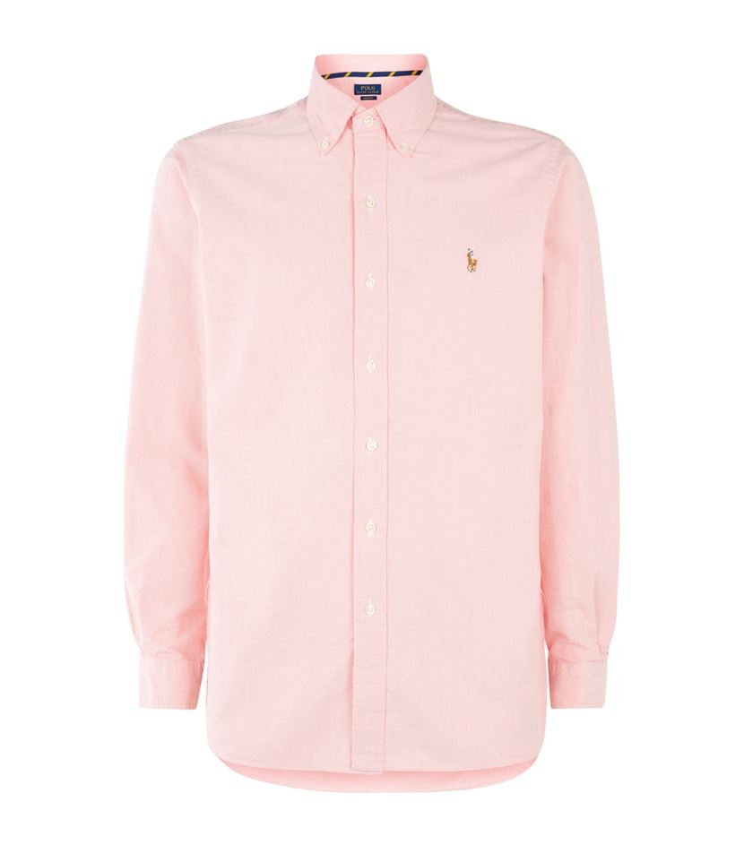 Polo ralph lauren custom fit cotton oxford shirt in pink for Pink oxford shirt men