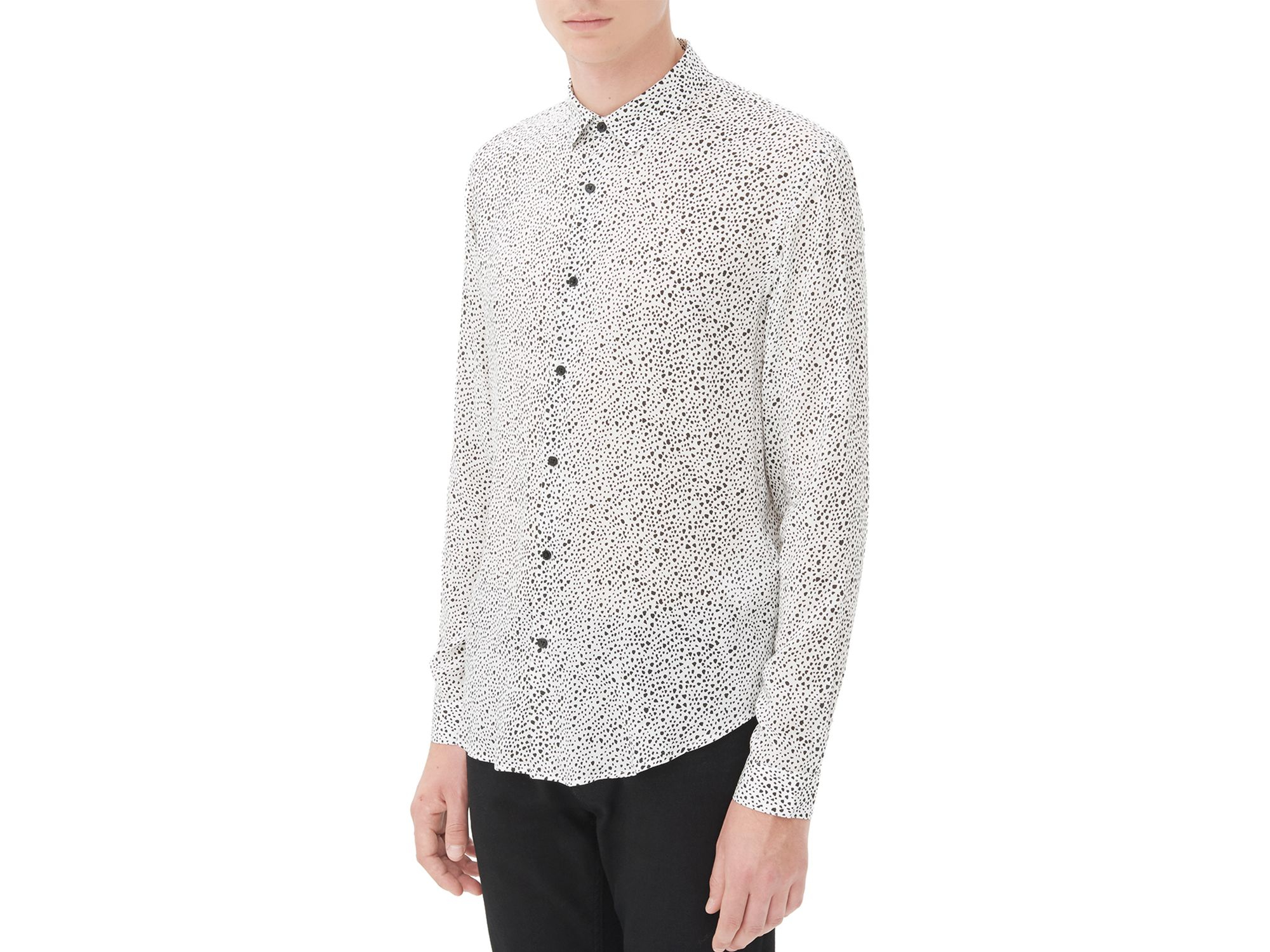 Sandro heartbreaker slim fit button down shirt in brown for Slim fit white button down shirt