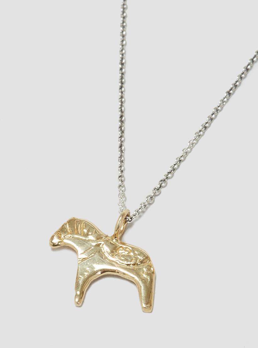 lyst odette new york dala horse necklace brass in metallic. Black Bedroom Furniture Sets. Home Design Ideas