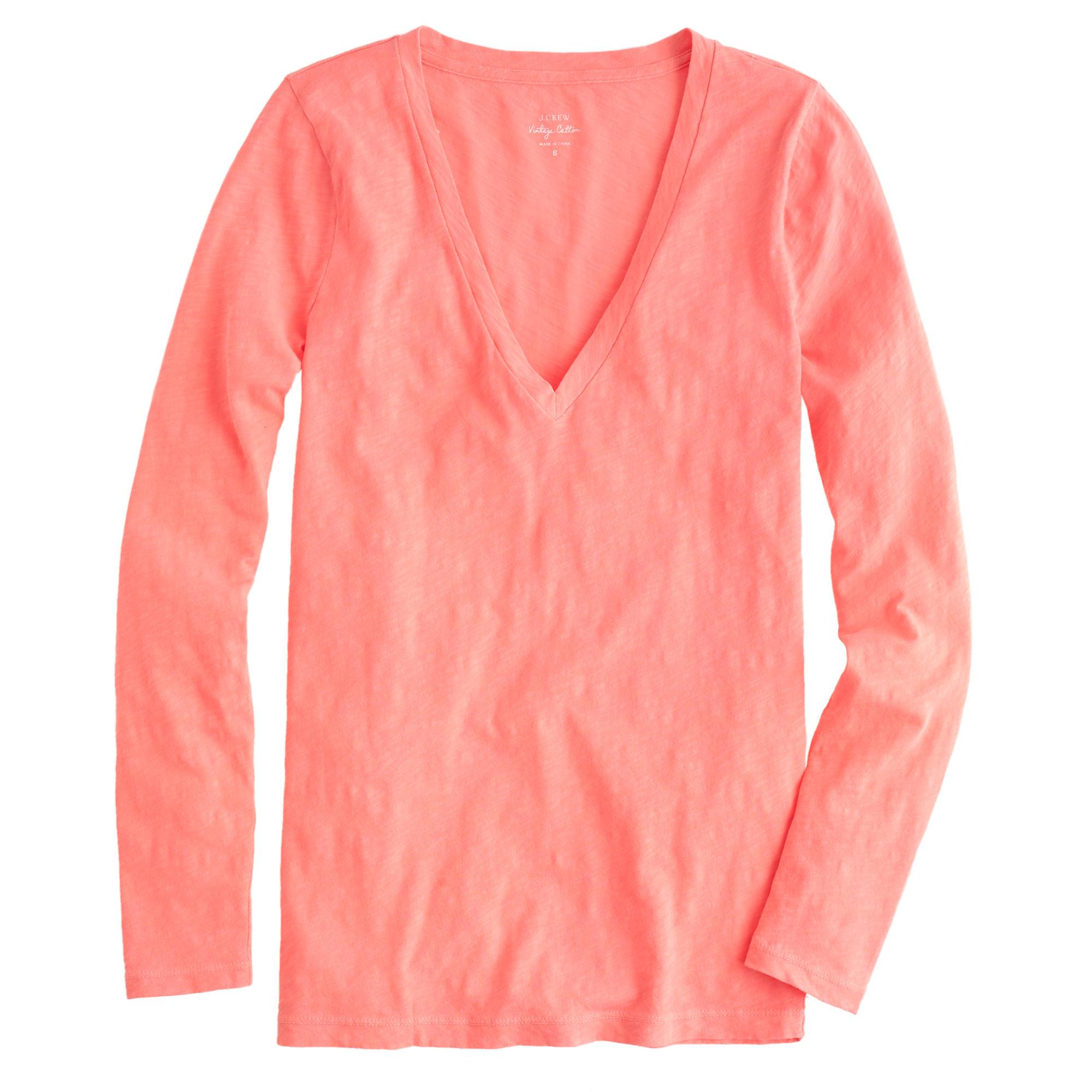 Vintage cotton long sleeve v neck t shirt in pink for Cotton long sleeve v neck t shirts