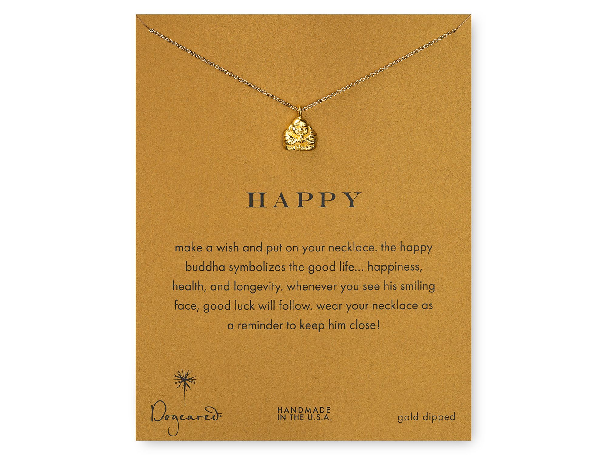 "Dogeared Happy Buddha Pendant Necklace, 18"" in Gold (Metallic)"