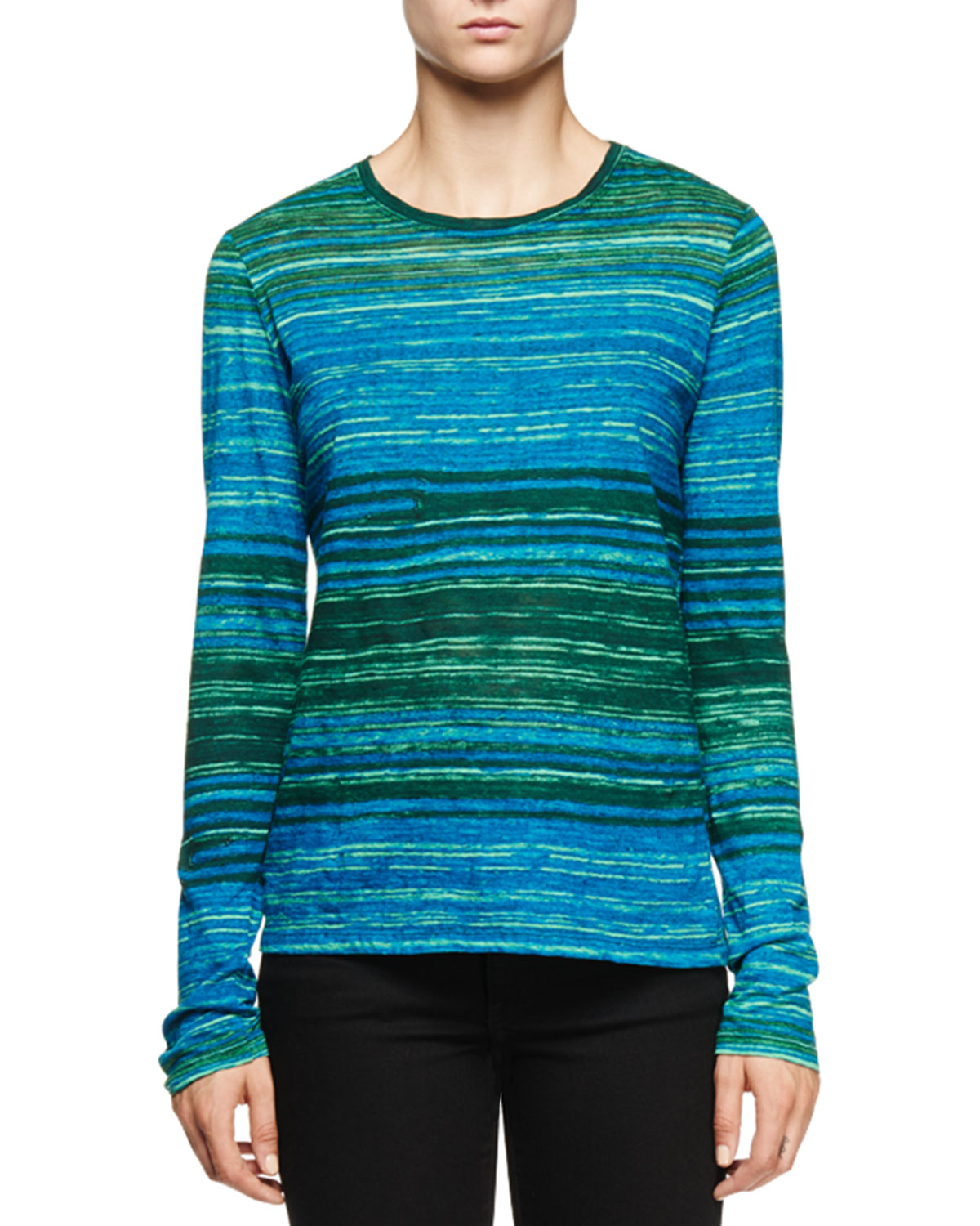 Proenza schouler long sleeve multi striped t shirt in blue for Black and blue long sleeve shirt