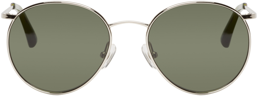 e3c3642a77a Lyst - Dries Van Noten Silver And Green Round Sunglasses in Metallic ...