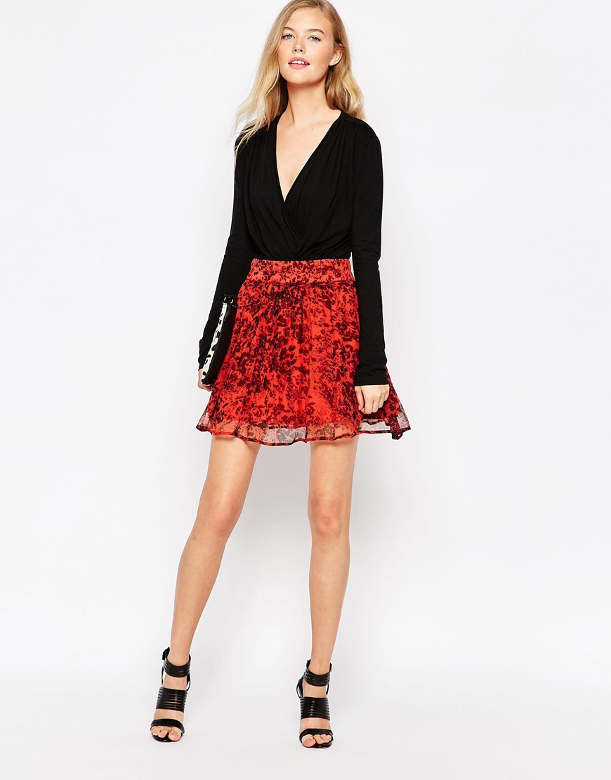 7d5665b57ac Ganni Field Flower Skirt in Red - Lyst