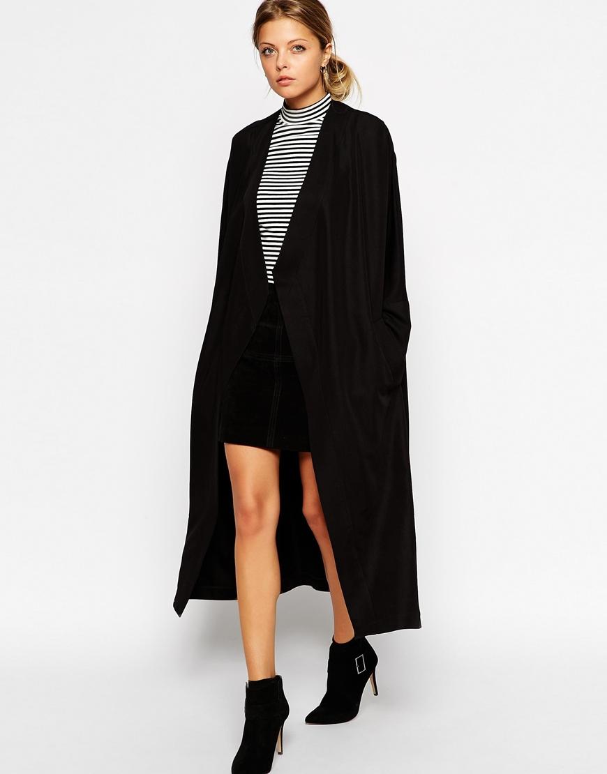 Lyst Asos Kimono Waterfall Coat In Maxi Length In Black