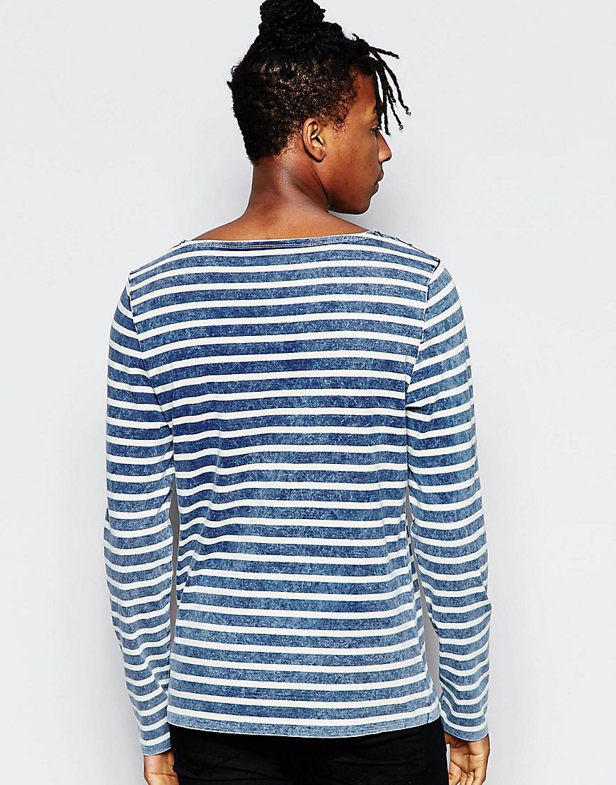 Asos indigo stripe long sleeve t shirt in blue for men lyst for Blue and white striped long sleeve t shirt