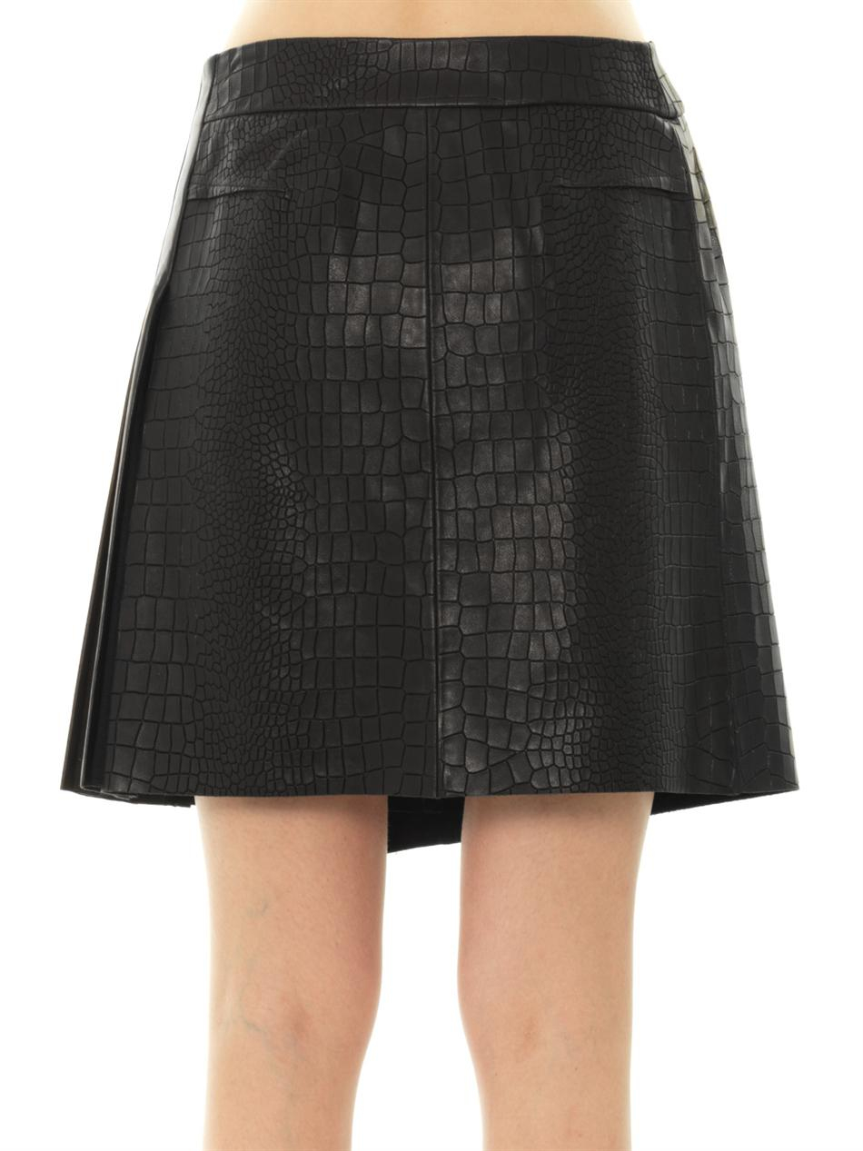 rag bone edburg textured leather skirt in black lyst