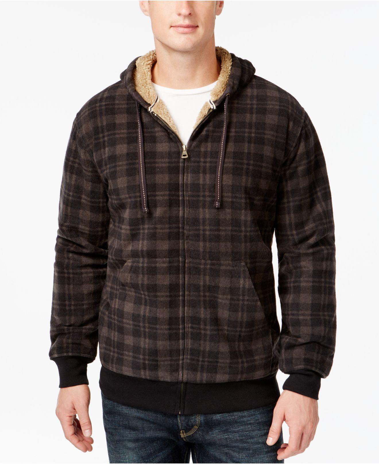 Weatherproof vintage plaid sherpa fleece hoodie in for Weatherproof vintage men s lightweight flannel shirt
