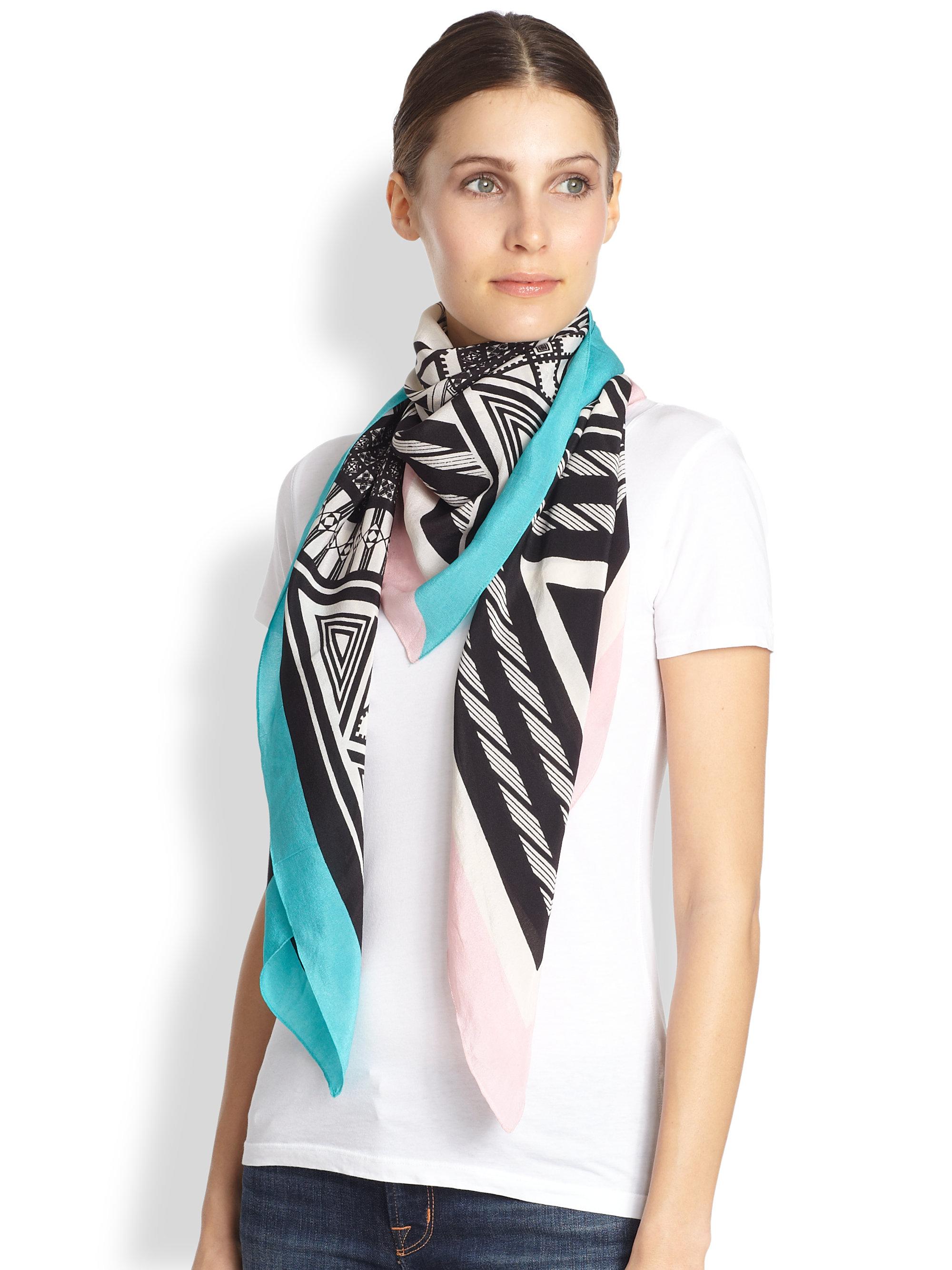 a peace treaty ezurum ecru silk scarf in blue lyst