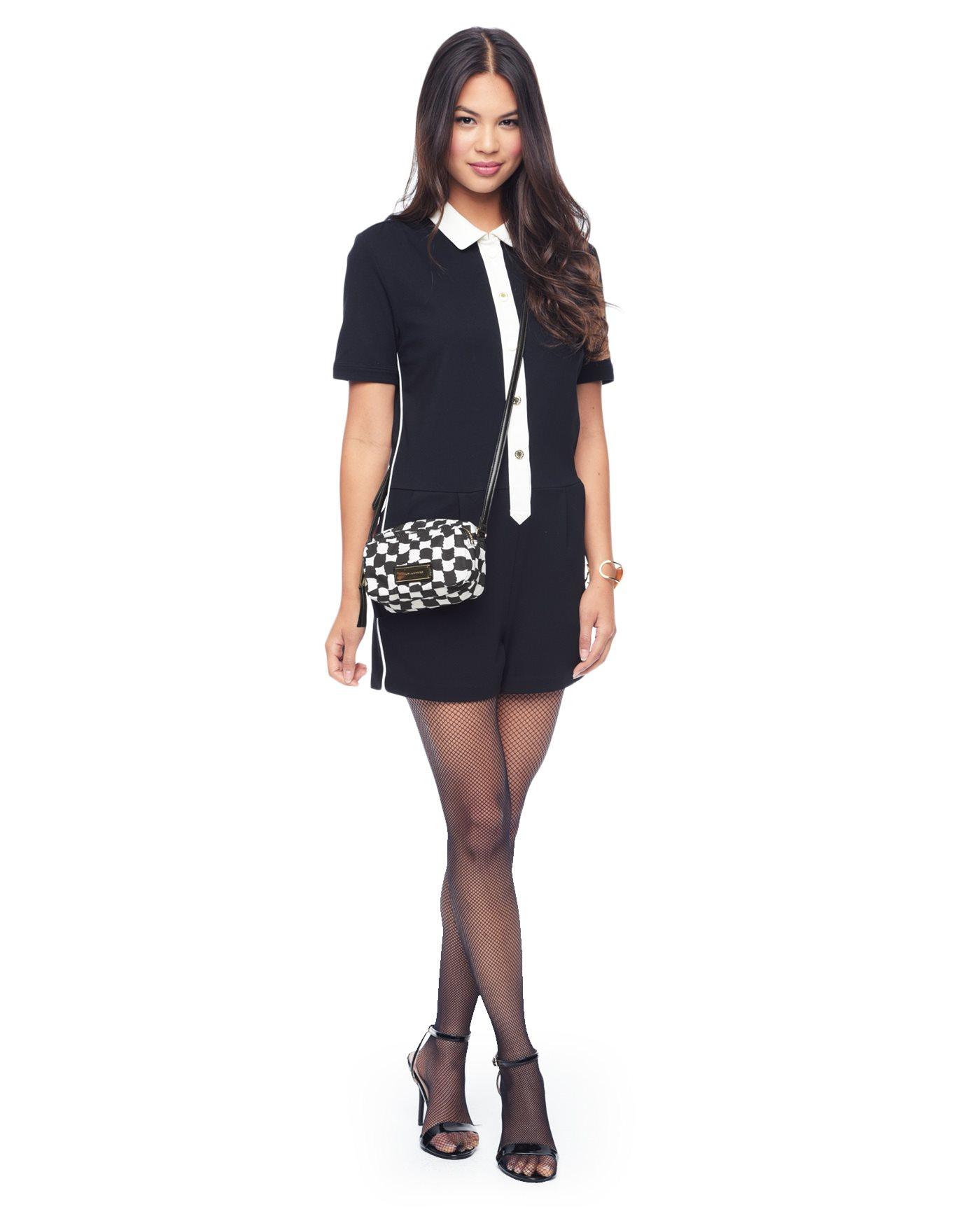 juicy couture nouvelle pop nylon crossbody in black black white lyst. Black Bedroom Furniture Sets. Home Design Ideas