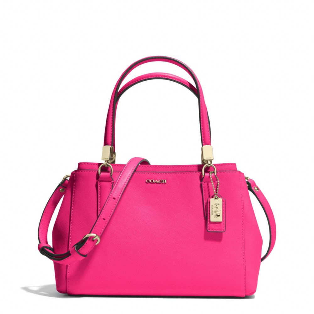 Lyst Coach Madison Mini Christie Carryall In Saffiano Leather Pink Signature Crossbody Be Inspired
