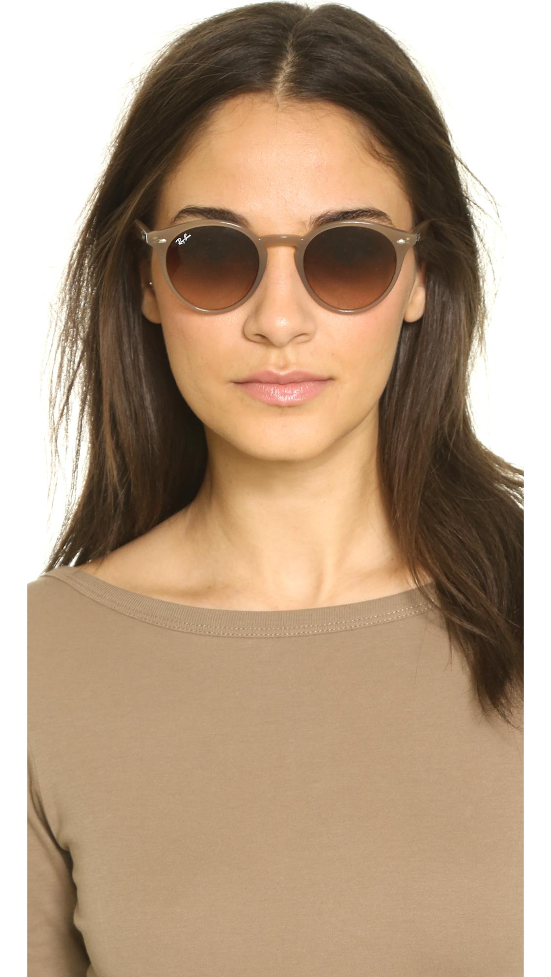 Ray Ban Highstreet Round Sunglasses Green Grey Gradient