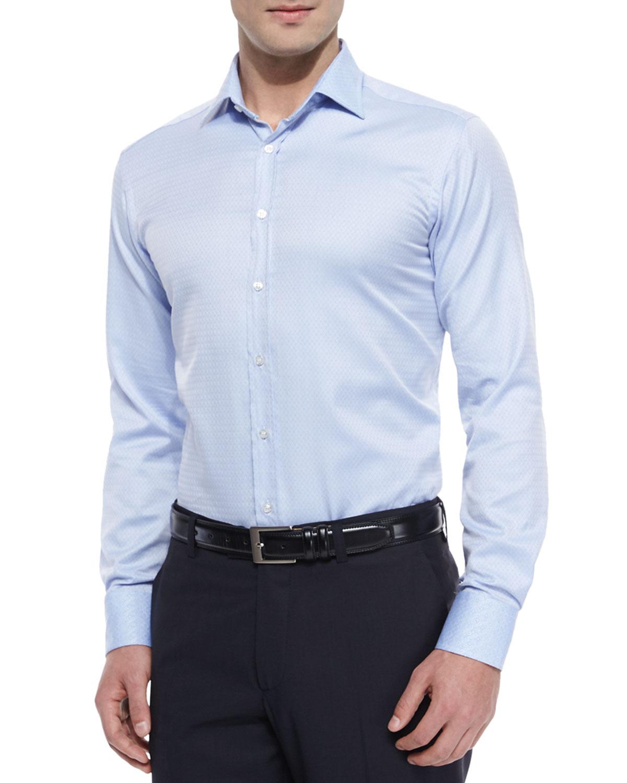 Lyst etro jacquard long sleeve sport shirt in blue for men for Etro men s shirts