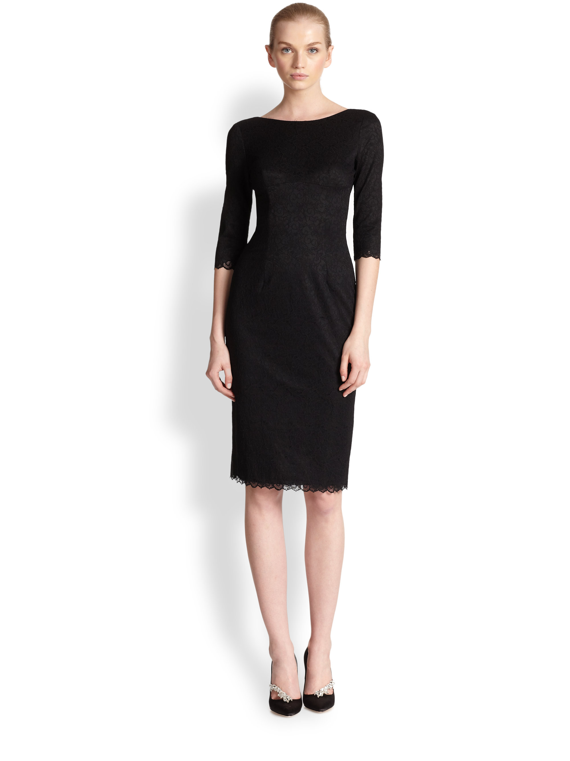 black halo lace sheath dress in black lyst